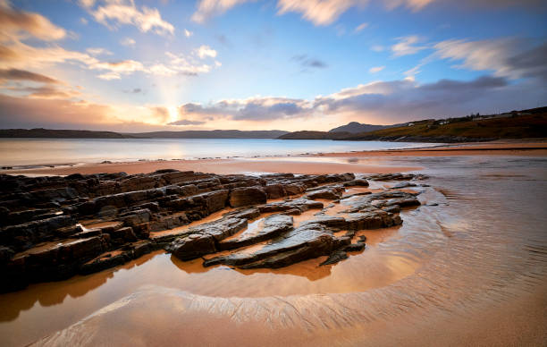 Sunrise at Talmine beach, Scotland, The north coast 500 stock photo