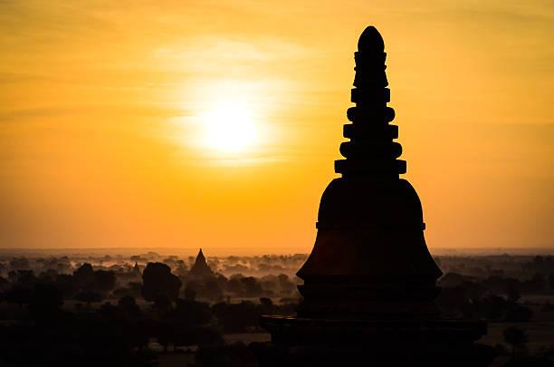 Sunrise at temples of Bagan, Myanmar stock photo