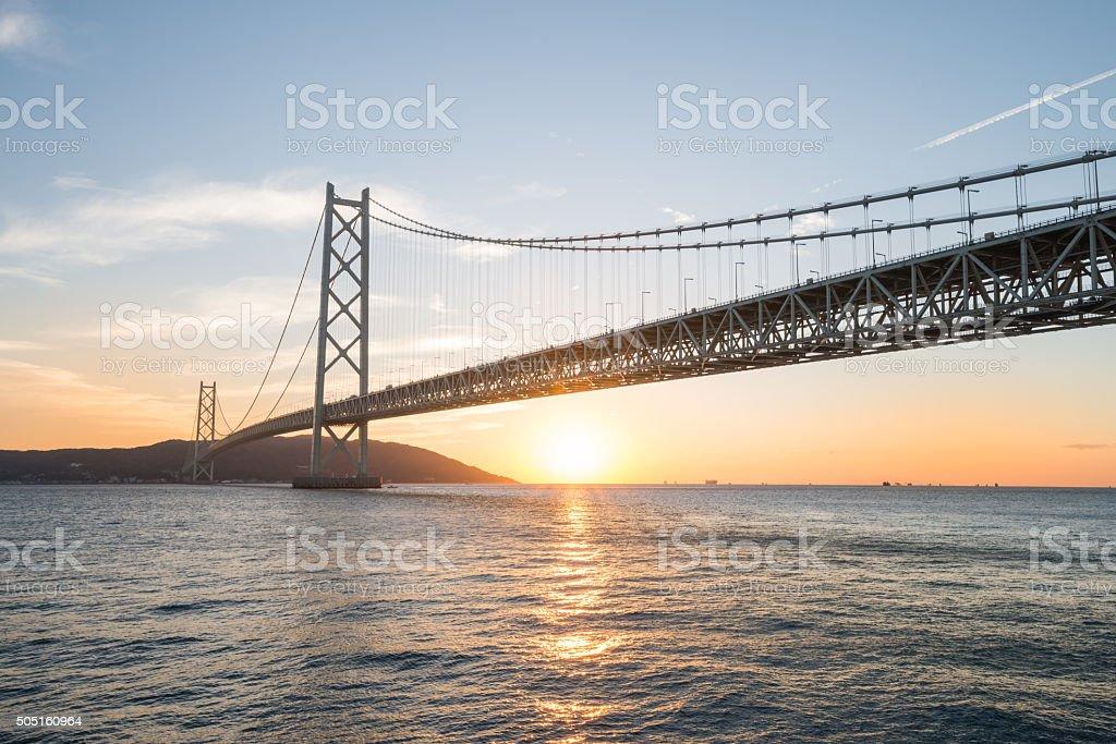Sunrise  at the Akashi Kaikyo Ohashi Bridge stock photo