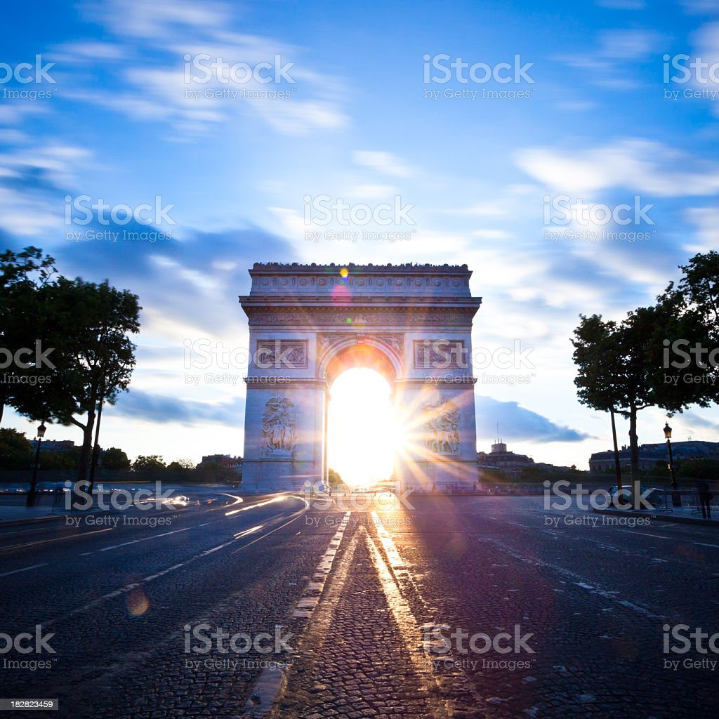 Sunrise at the Arc de Triomphe royalty-free stock photo