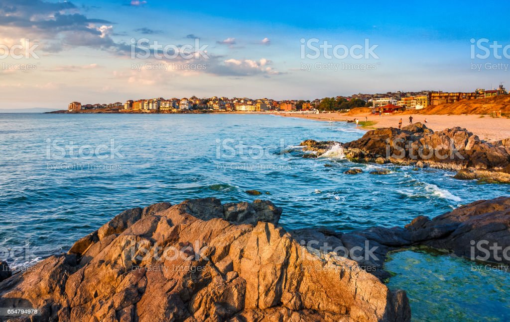 sunrise at the beach of Sozopol stock photo