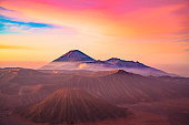 istock Sunrise at the Bromo volcano mountain in Indonesia 1190774381