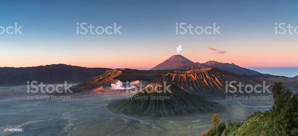 Sunrise at the Bromo volcano mountain in Indonesia stock photo
