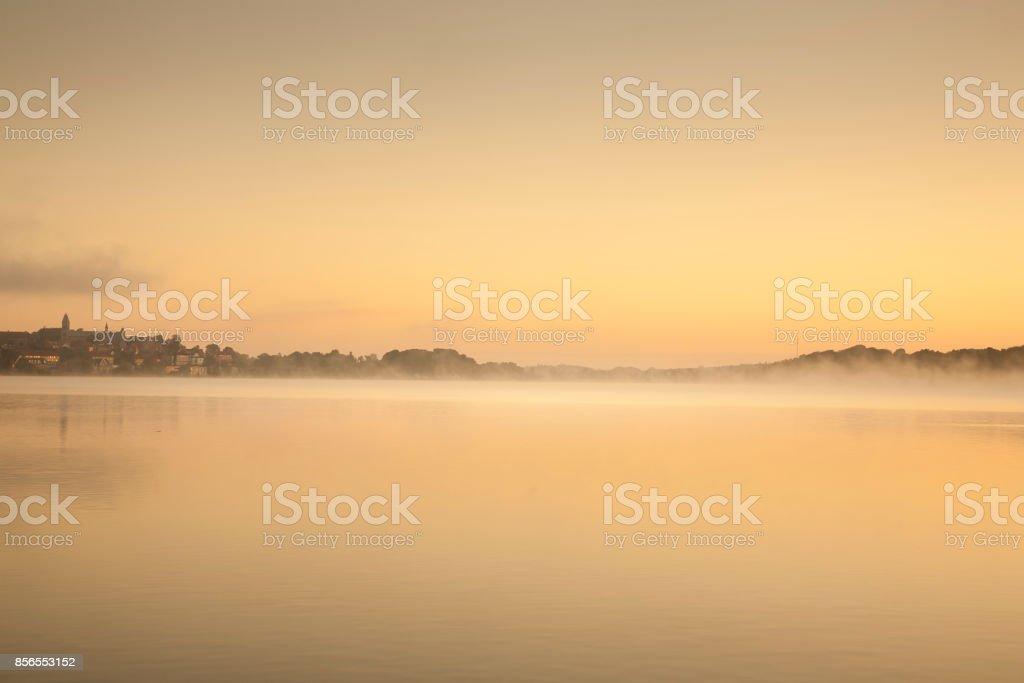 sunrise at the city skyline stock photo