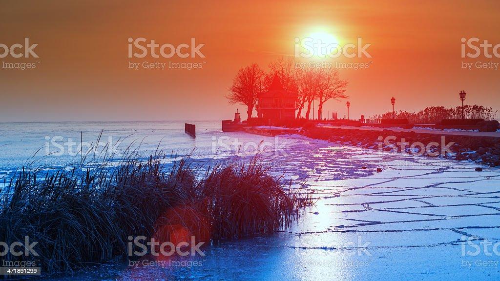 Sunrise at the dock. Balaton sea, Hungary royalty-free stock photo