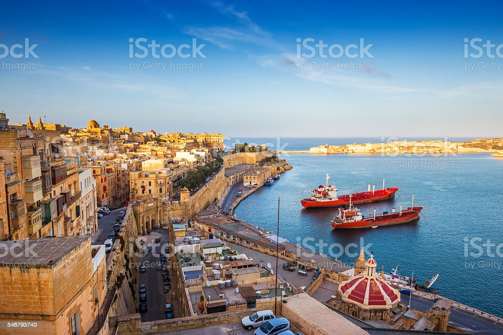 Sunrise at the Grand Harbour of Malta stock photo