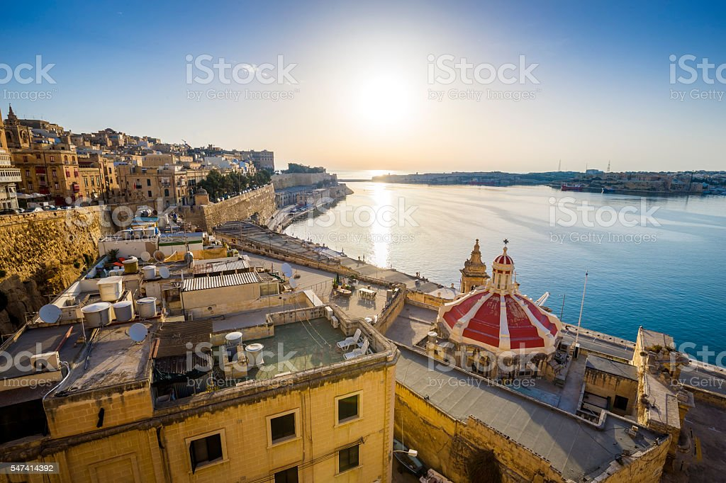 Sunrise at the Grand Harbour of Malta, Valletta stock photo
