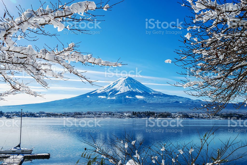 Sunrise at the lake Kawaguchi-ko,Fuji Mountain Background stock photo