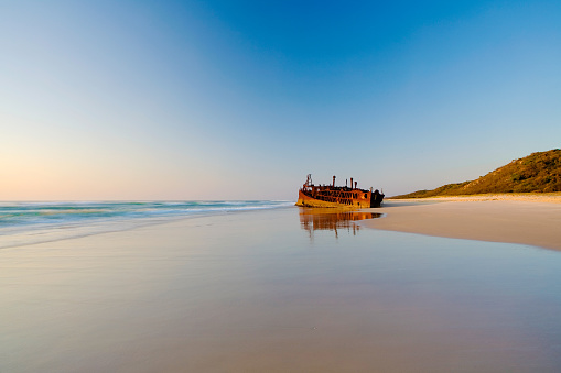 Sunrise At The Maheno Shipwreck On Fraser Island Stock Photo - Download Image Now