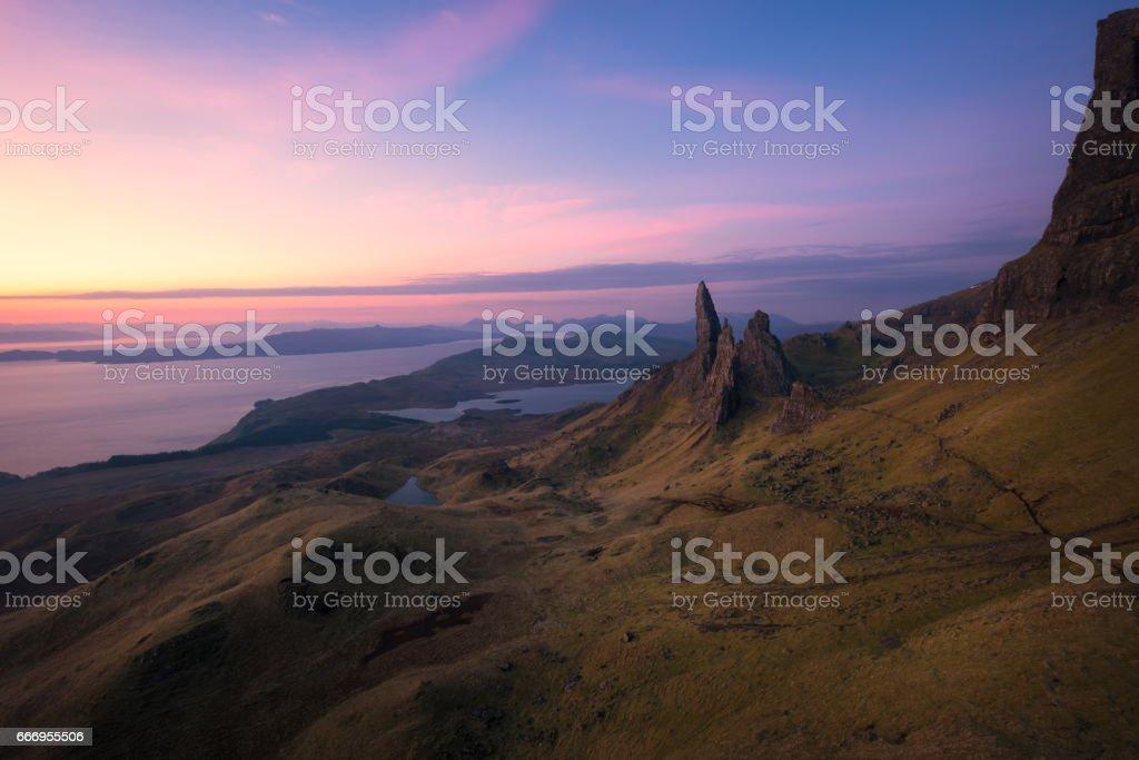 Sunrise at the Old Man of Storr, Isle of Skye, Scotland stock photo