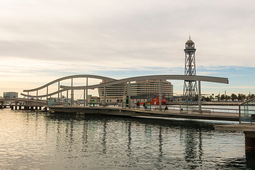 Sunrise at the port of Barcelona, at the end of the Ramblas. Barcelona, Spain