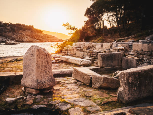 Sunrise at the ruins of Aliki marble port in Thasos, Greece stock photo