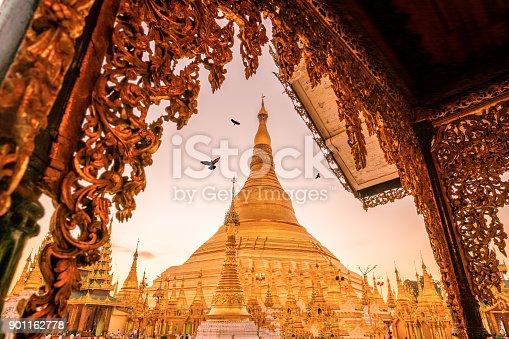 Sunrise at the Shwedagon Pagoda in Yangon, Myanmar