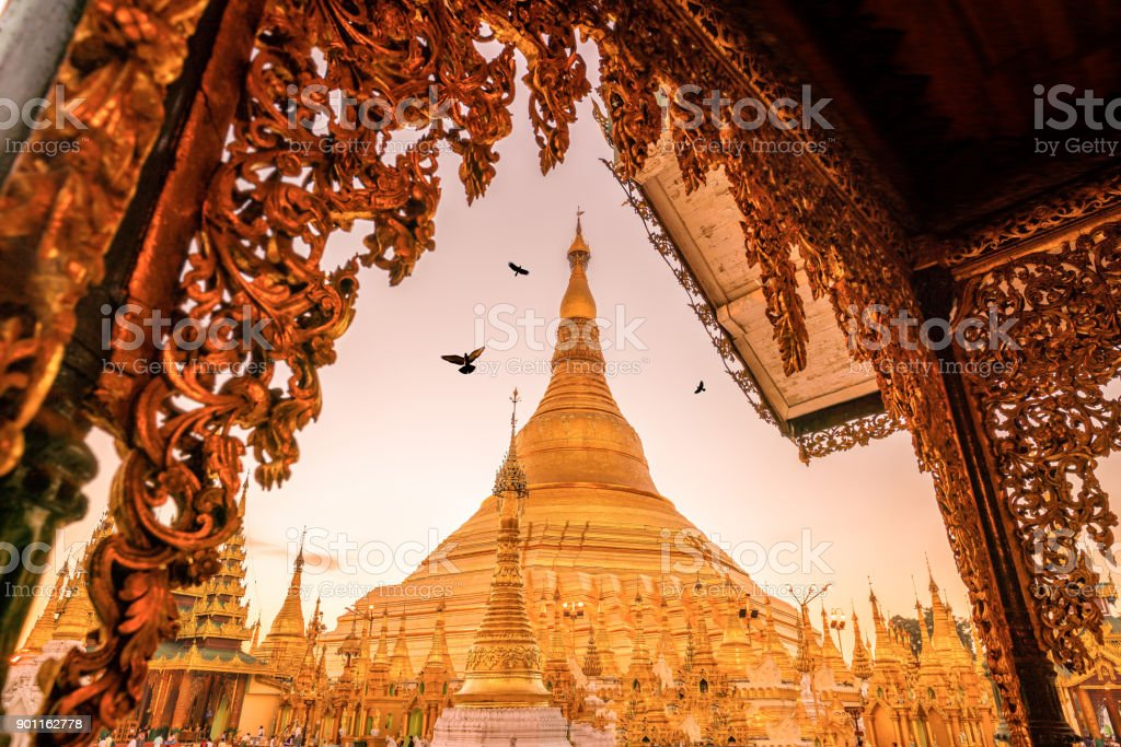 Sunrise at the Shwedagon Pagoda in Yangon stock photo