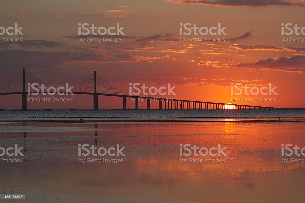 Sunrise at the Skyway Bridge stock photo