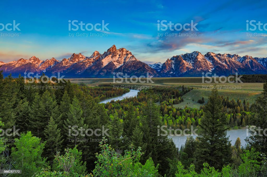 Sunrise at the Snake river overlook stock photo