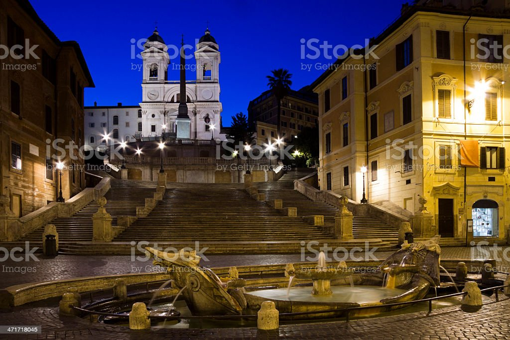 Sunrise at the 'Spanish steps' in Rome, Italy stock photo