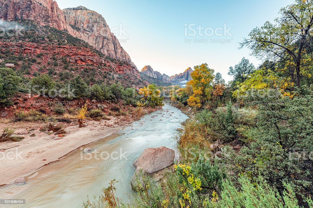 Sunrise at the Watchman in Fall stock photo