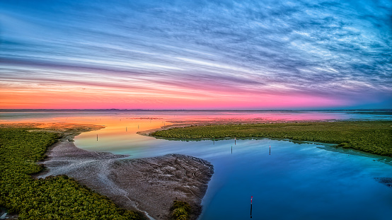 Dawn at Tooradin boat ramp on the foreshore in Victoria's South Gippsland
