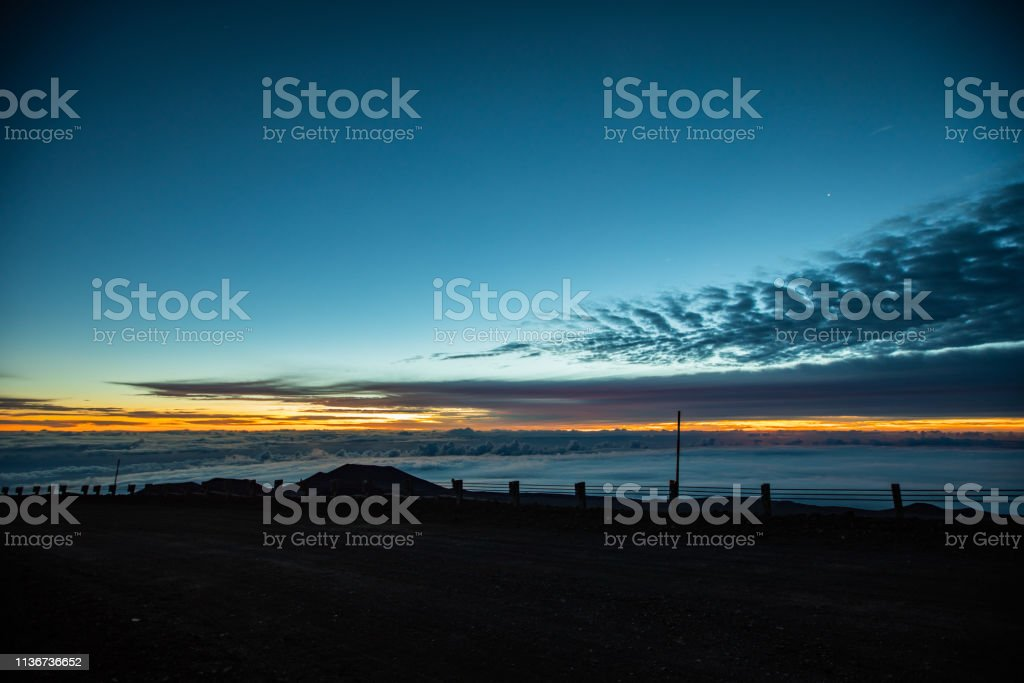 Sunrise at Top of Mauna Kea Mountain stock photo
