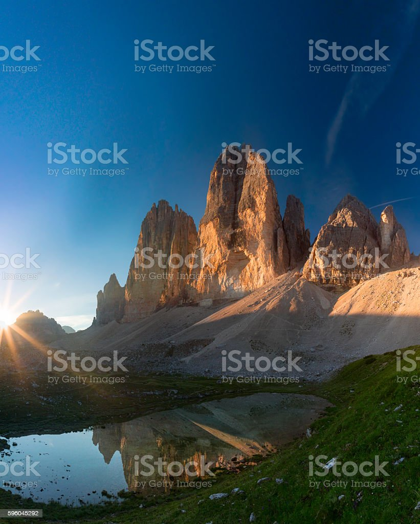 Sunrise at Tre Cime in Dolomite Alps, Italy royalty-free stock photo