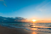 Sunrise at tropical beach in Northeastern Brazil