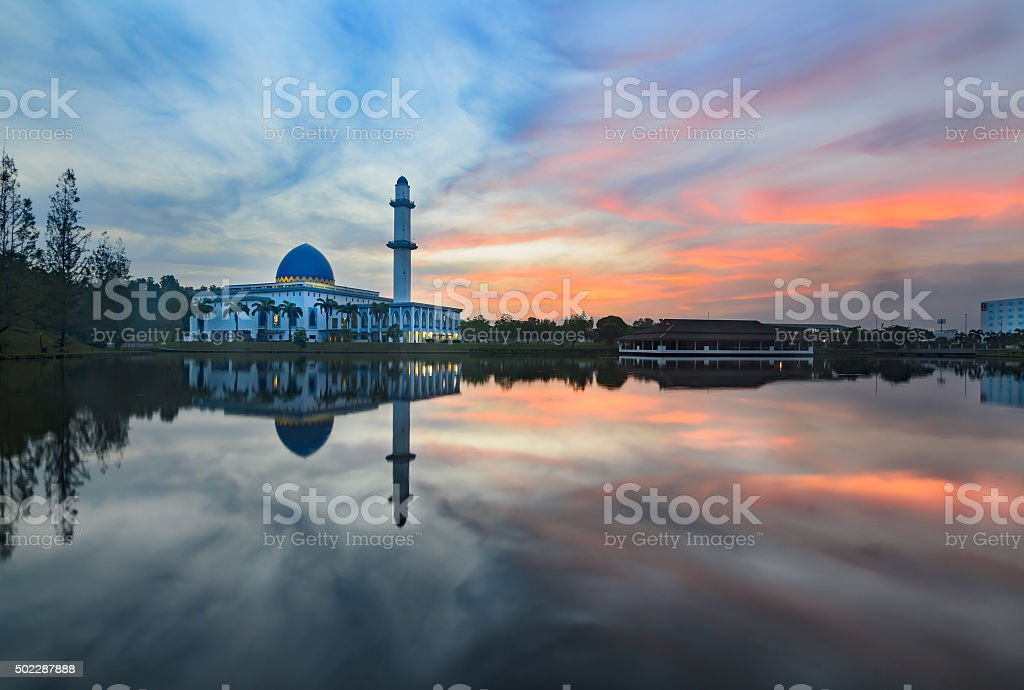 Sunrise At UNITEN Mosque, Malaysia stock photo