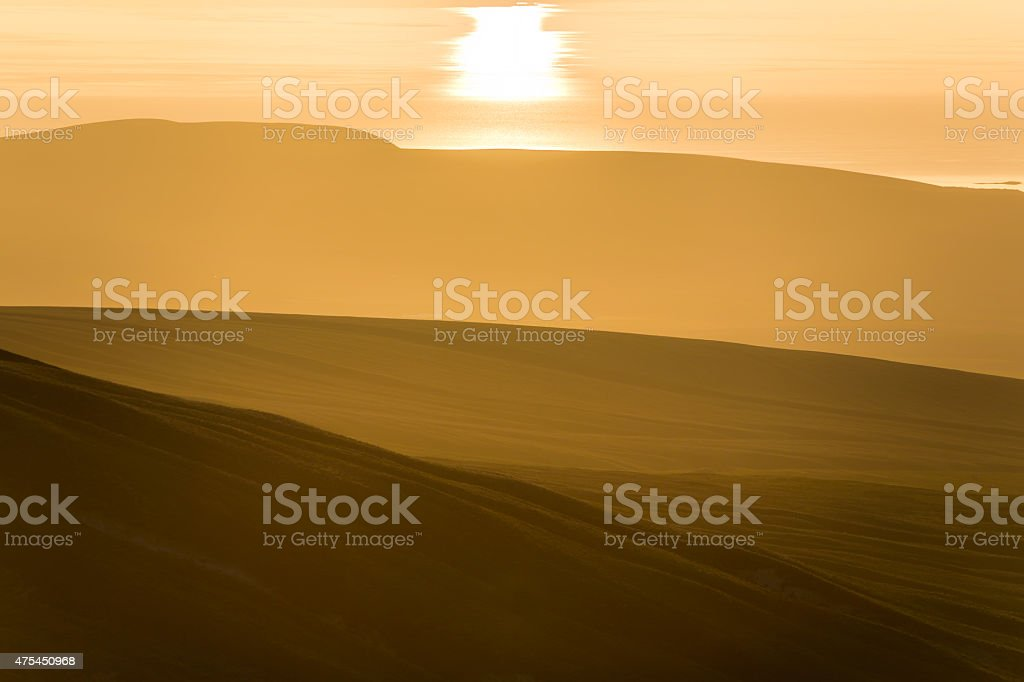 sunrise at Van lake with mountains stock photo