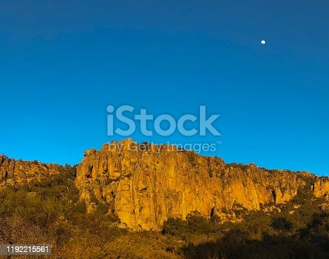 The sun rises over the Organ Pipes section of Western Victoria's rock climbing Mecca, Mount Arapiles, in the Wimmera region.