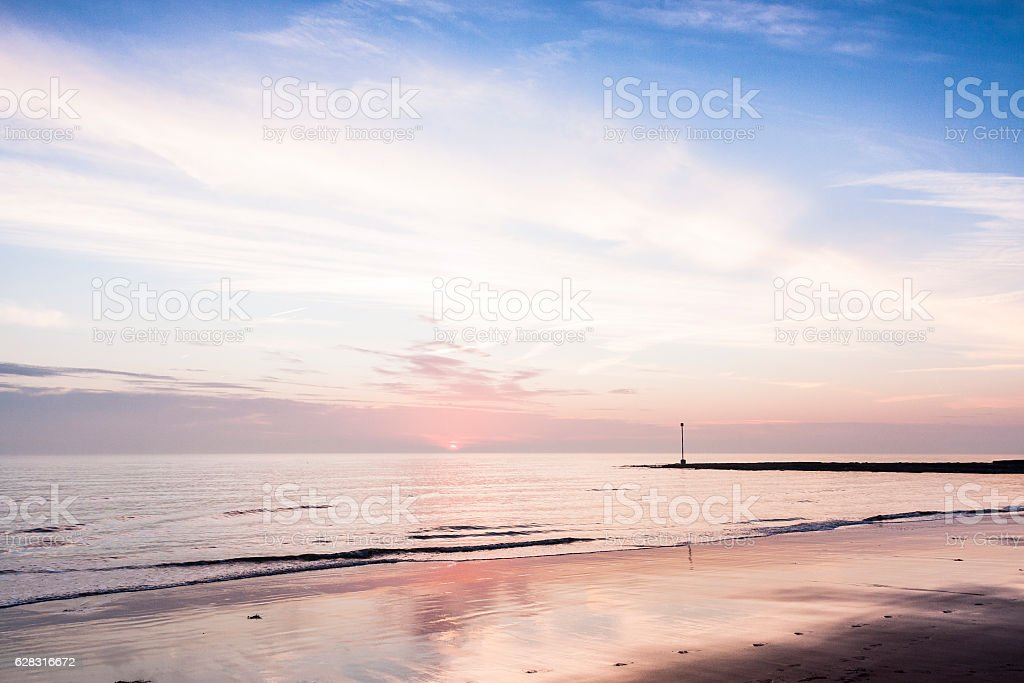 Sunrise at Viking Bay beach in Broadstairs, Kent, England stock photo