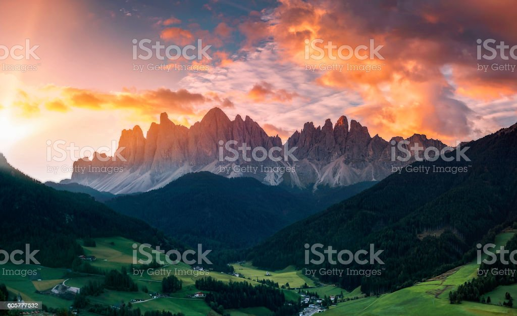 Sunrise at  Villnöss with geisler group, Alps - southtirol stock photo