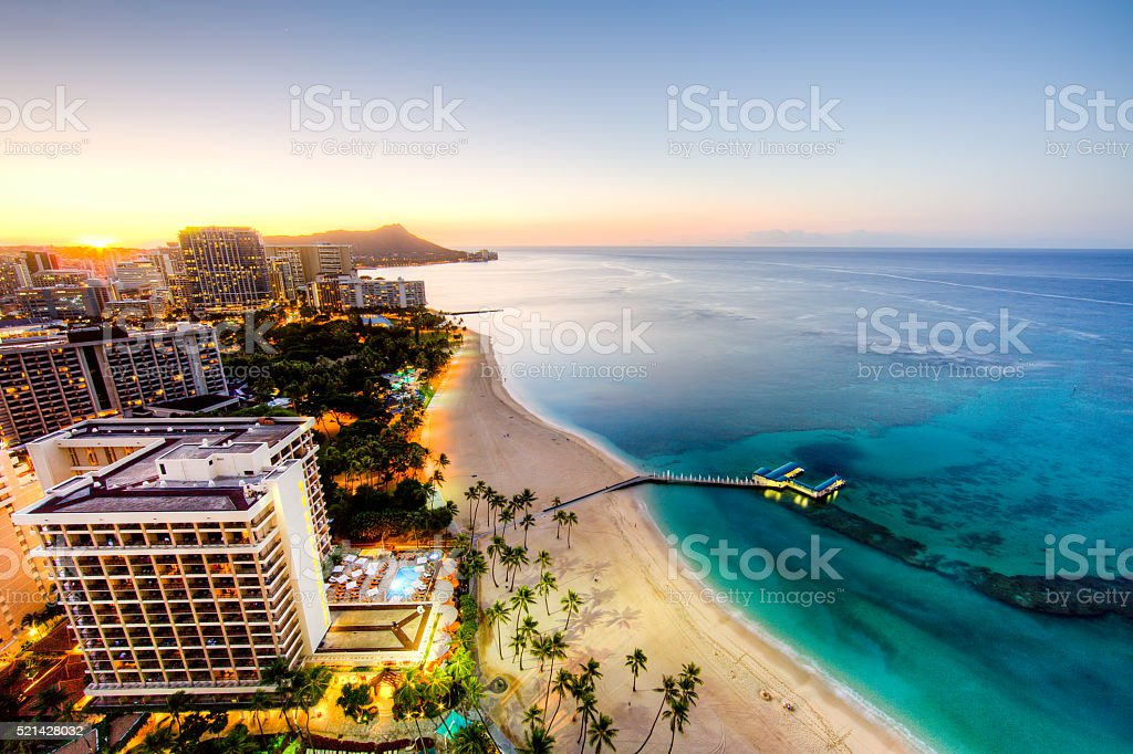 Sunrise at Waikiki Beach stock photo