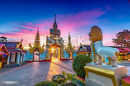 Sunrise at Wat Phra That Panom temple in Nakhon Phanom, Thailand