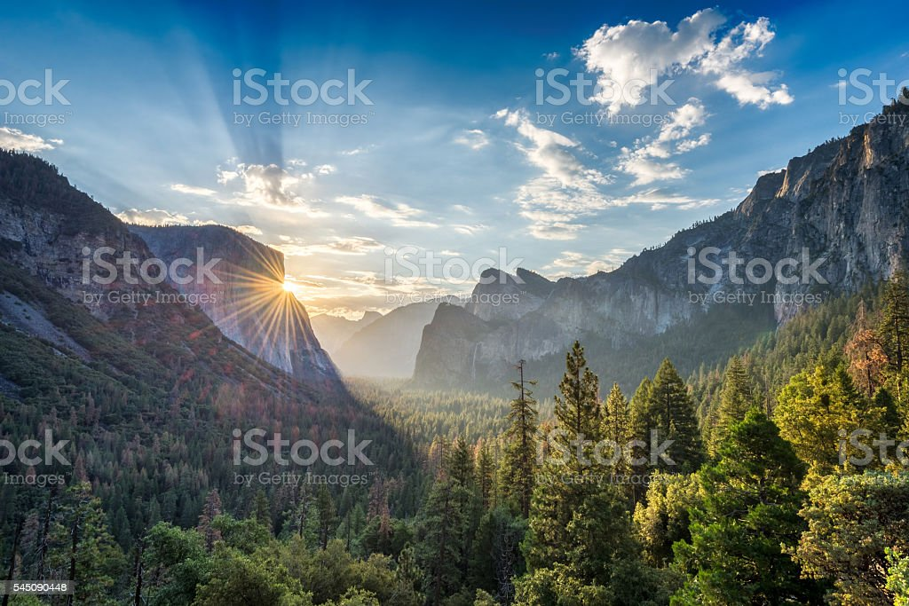 Sunrise at Yosemite National Park stock photo