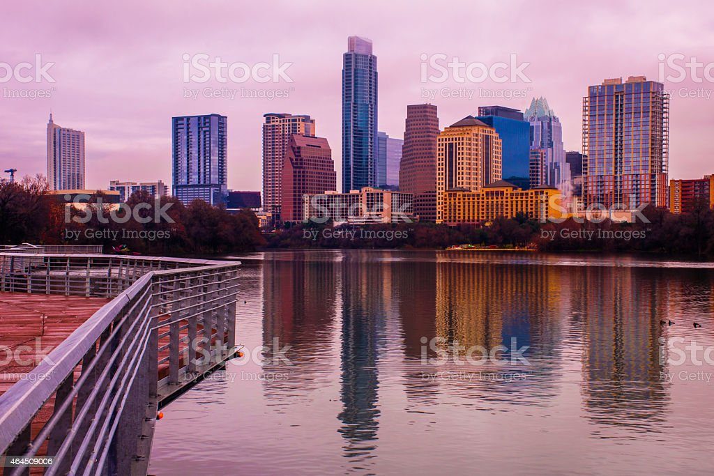 Sunrise Austin pedestrian Bridge Mirror Image 2015 stock photo