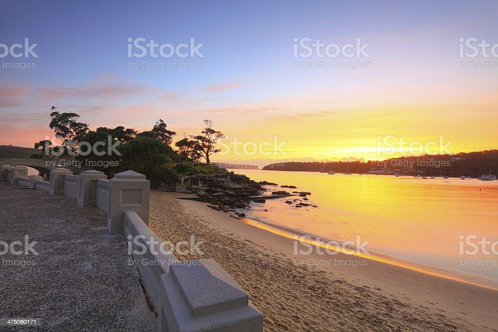 Sunrise Balmoral Beach seaside suburb Sydney Australia stock photo