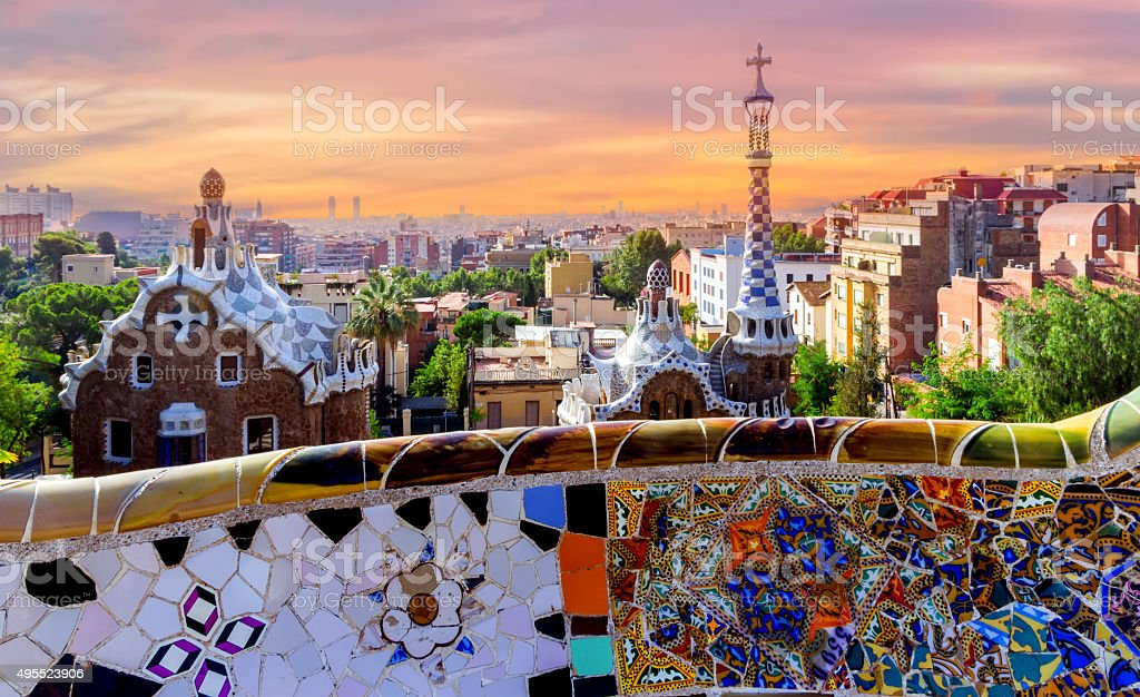 sunrise Barcelona Gaudi bench mosaic stock photo