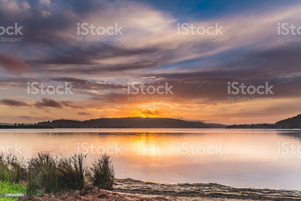 Sunrise Bay Waterscape stock photo