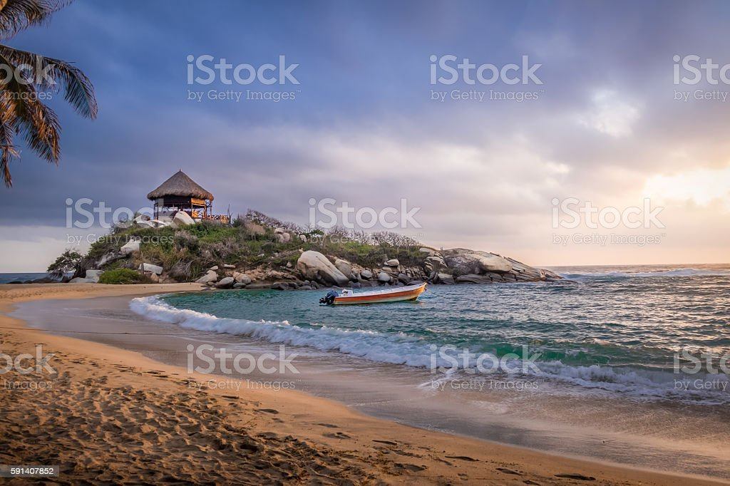 Sunrise beach hut - Cabo San Juan, Tayrona Park, Colombia stock photo