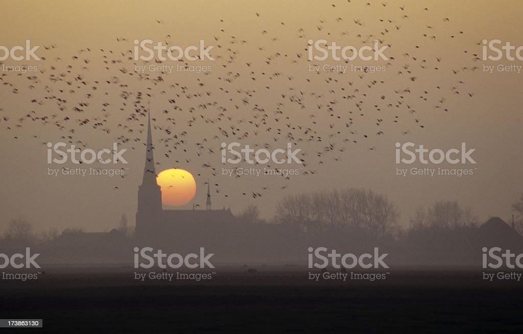Sunrise behind Church royalty-free stock photo