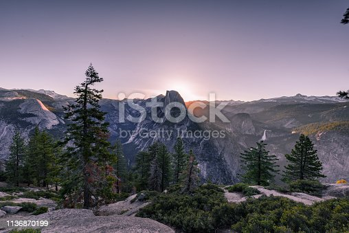 Sunrise behind half dome, Yosemite National Park