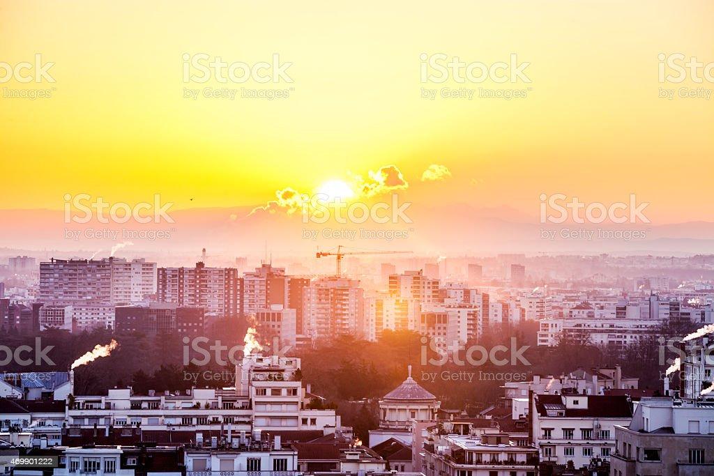 Sunrise behind the Mont Blanc stock photo