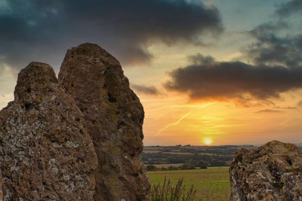 Sunrise Between the Rollright Stones stock photo