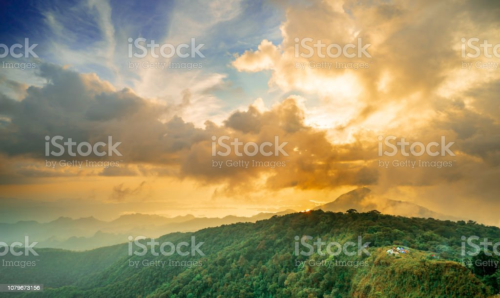 Sunrise  - Blue and Red  sky over the hill stock photo