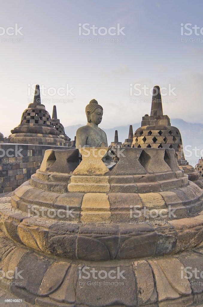 Sunrise Borobudur Temple Stupa in Yogyakarta, Java, Indonesia. stock photo