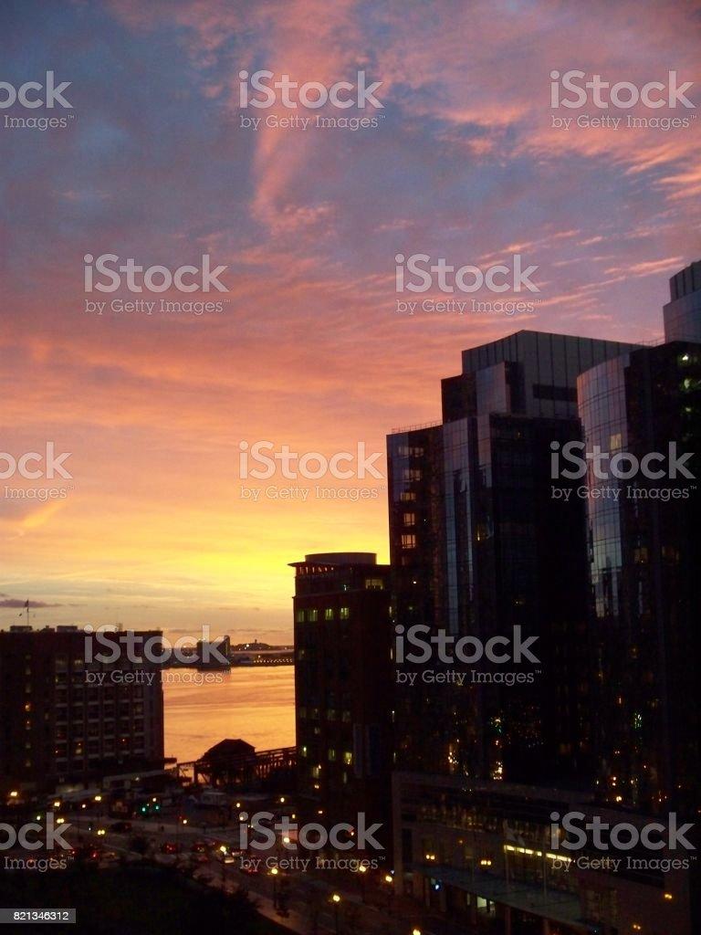 Sunrise Boston stock photo