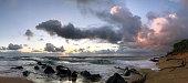Sunrise brings fire and light to the island of Kauai, Royal Coconut Coast, Hawaii.
