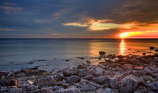 Sunrise by the coastline