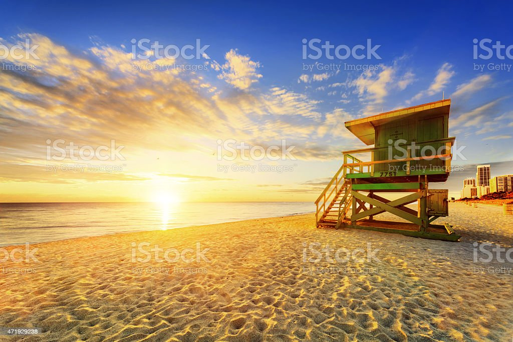 Sunrise by the Lifeguard station on South Beach Miami stock photo