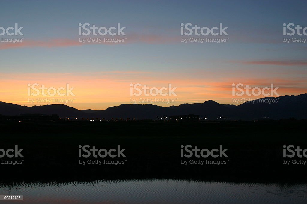 Sunrise by the pond & golf course in Salt Lake City royalty-free stock photo